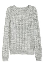 Cable-knit jumper - Grey marl -  | H&M CN 2