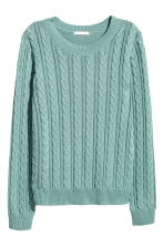 Cable-knit jumper - Turquoise -  | H&M CN 2