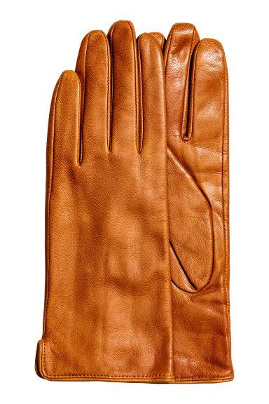 Ladies leather gloves xs - Leather Gloves Cognac Brown Ladies H M
