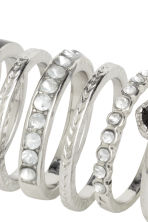 7-pack rings - Silver/Black - Ladies | H&M CN 2