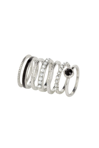 7-pack rings - Silver/Black - Ladies | H&M CN 1