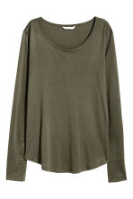 Jersey top - Dark khaki green - Ladies | H&M CN 2