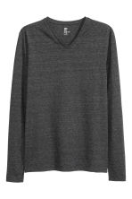 Long-sleeved T-shirt Slim fit - Black marl - Men | H&M CN 2