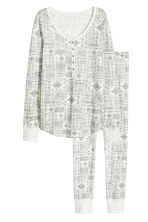Jersey pyjamas - Light grey/Patterned -  | H&M CN 1