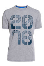 Short-sleeved sports T-shirt - Grey marl - Men | H&M CN 2