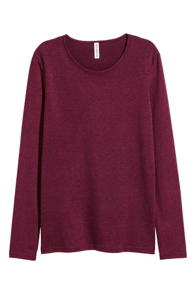 Long-sleeved jersey top - Burgundy marl - Ladies | H&M 1