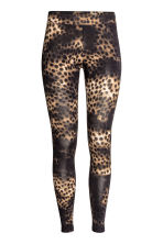 Patterned leggings - Black/Leopard print - Ladies | H&M CN 2