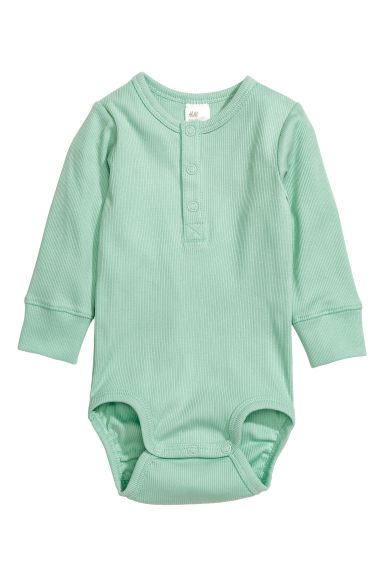 Long-sleeved bodysuit - Mint green - Kids | H&M CN 1