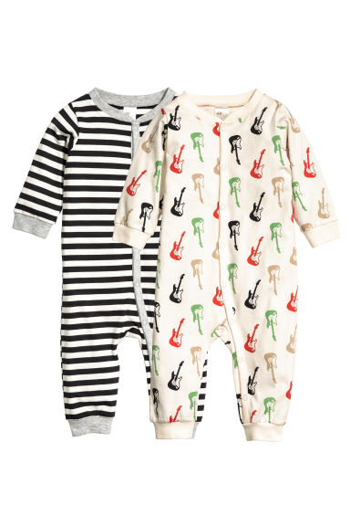 2-pack all-in-one pyjamas - Natural white/Guitar - Kids | H&M 1