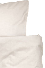 Cotton chambray duvet set - Light beige - Home All | H&M CN 2