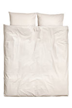 Cotton chambray duvet set - Light beige - Home All | H&M CN 1