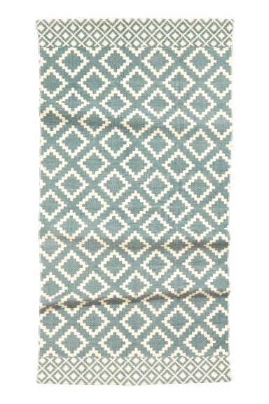 Patterned cotton rug - Natural white/Grey-blue -  | H&M CN 1