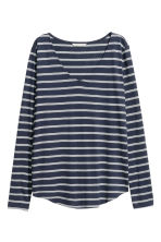 Tricot top met V-hals - Donkerblauw/gestreept -  | H&M BE 2