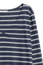 Tricot top met V-hals - Donkerblauw/gestreept -  | H&M BE 3