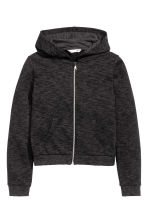 Hooded jacket - Black marl - Kids | H&M CN 2
