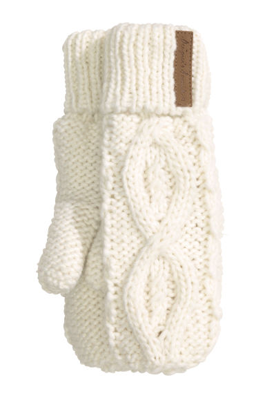 Cable-knit mittens - White - Kids | H&M CN 1