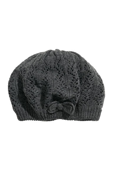 Knitted beret - Dark grey marl - Kids | H&M CN 1