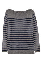 H&M+ Fine-knit jumper - Dark grey/Striped - Ladies | H&M CN 2