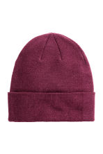 Knitted hat - Dark purple - Ladies | H&M CN 1
