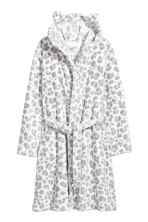 Fleece dressing gown - White/Leopard print - Kids | H&M CN 1
