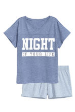 Pyjamas with top and shorts - Blue marl - Ladies | H&M CN 2