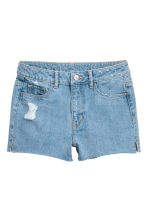 Denim shorts High waist - Light denim blue - Ladies | H&M CN 2