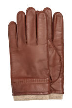 Leather gloves - Dark cognac brown - Men | H&M CA 1