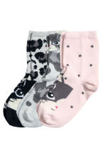 3-pack socks - Grey/Cat - Kids | H&M CN 2