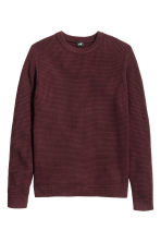 Jumper in a textured knit - Burgundy - Men | H&M CN 2