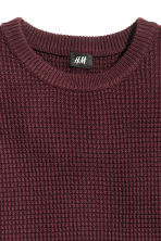 Jumper in a textured knit - Burgundy - Men | H&M CN 3
