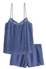 Pyjamas with shorts and top - Dark blue/Spotted - Ladies | H&M CN 2
