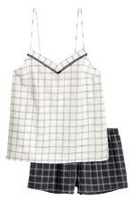 Pyjamas with shorts and top - Black/White/Checked - Ladies | H&M CN 2