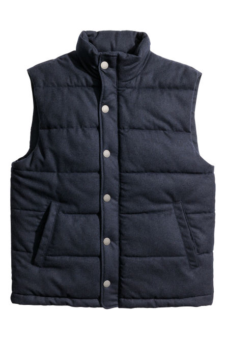 Padded gilet in a wool blend