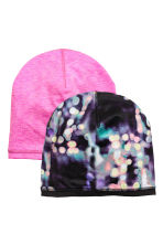 2-pack reversible hats - Neon pink marl - Kids | H&M CN 1