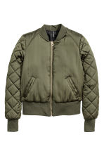 Short satin bomber jacket - Khaki green - Ladies | H&M 2