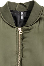 Short satin bomber jacket - Khaki green - Ladies | H&M 3