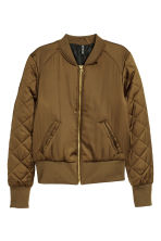 Short satin bomber jacket - Dark olive green - Ladies | H&M 2