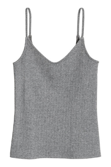 Jersey strappy top - Dark grey marl - Ladies | H&M CN 1
