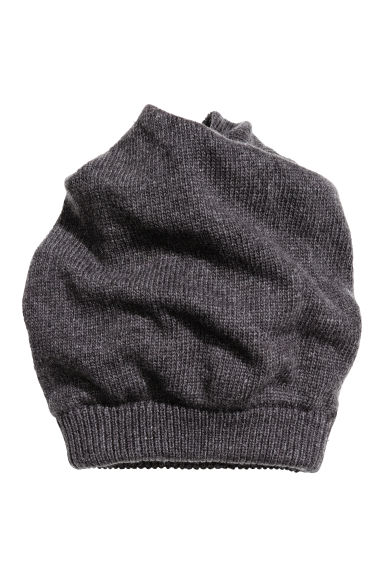Knitted hat/tube scarf - Dark grey marl - Men | H&M CN 1