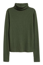 Ribbed polo-neck top - Dark green - Ladies | H&M CN 2