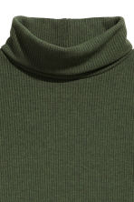 Ribbed polo-neck top - Dark green - Ladies | H&M CN 3
