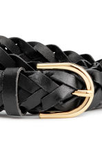 Braided leather belt - Black - Ladies | H&M CN 3