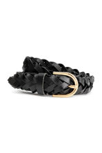 Braided leather belt - Black - Ladies | H&M CN 1
