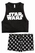 Pyjamas with top and shorts - Black/Star Wars - Ladies | H&M CN 2