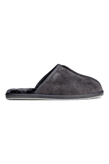 Pile-lined slippers - Dark grey -  | H&M CN