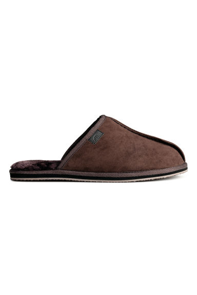 Pile-lined slippers - Dark brown - Men | H&M CN 1