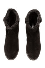 Warm-lined suede boots - Black - Ladies | H&M CN 3