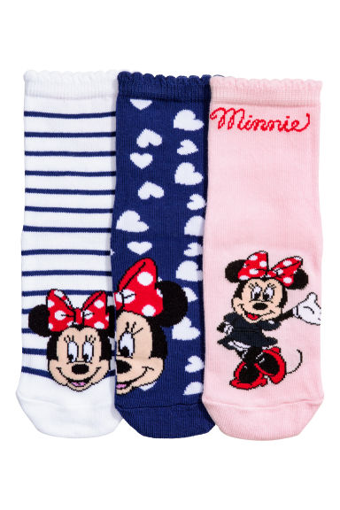 3-pack socks - Light pink/Minnie Mouse - Kids | H&M CN 1
