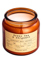 Scented candle in a glass jar - Dark orange/Green Tea-Bergamot - Home All | H&M CA 2