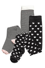 2-pack tights - Black/Heart - Kids | H&M CN 2